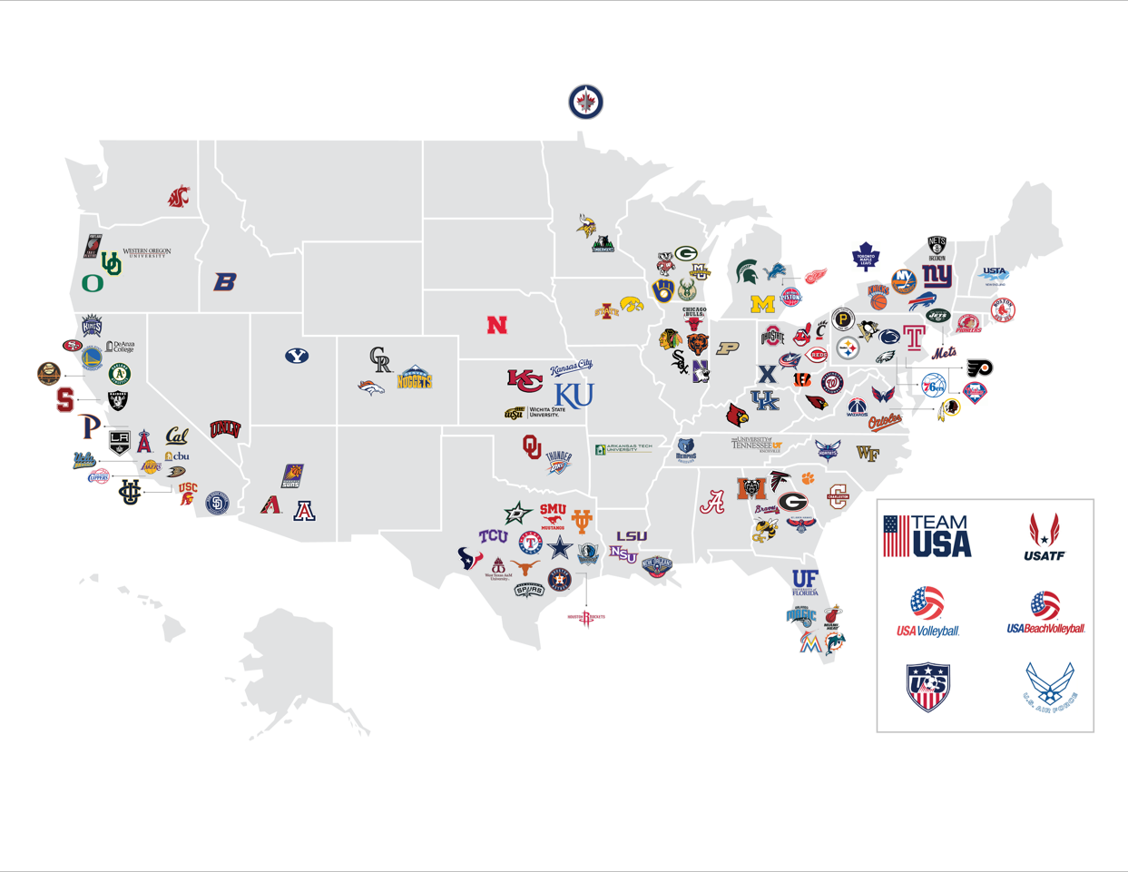 Map of the USA showing sports teams that use Hypervolt